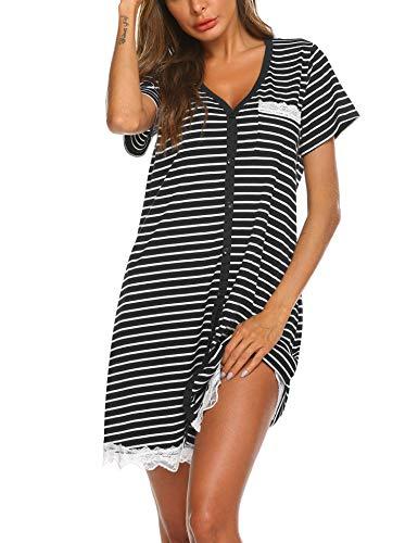 Ekouaer Nightdress Womens Sleepwear Short Nightgowns Knit Sleepshirts