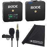 Rode WIGO Wireless GO - Sistema de micrófono inalámbrico (incluye micrófono de solapa Lavalier GO y paño de microfibra keepdrum)