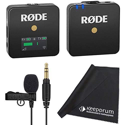 Rode WIGO Wireless GO Mikrofon-Funksystem + Lavalier GO Ansteckmikrofon + keepdrum Mikrofasertuch