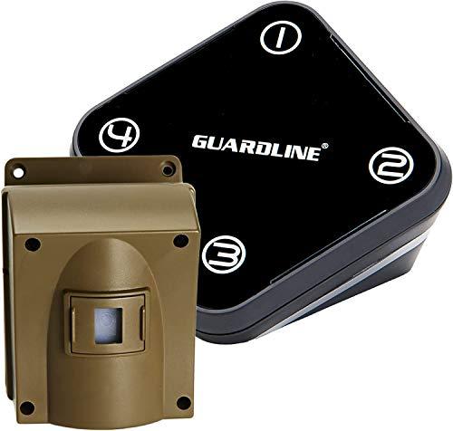 Guardline Wireless Driveway Alarm - 1 Motion Detector Alarm Sensor & 1 Receiver, 500 Foot Range, Weatherproof Outdoor Security Alert System for Home & Property