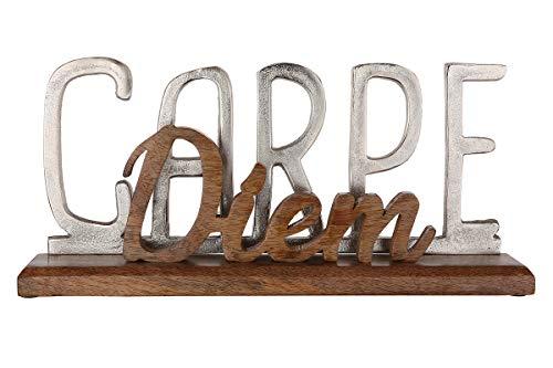 GILDE Schriftzug Carpe Diem Aluminium Höhe 20 cm Silber, Tischdeko, Aufsteller
