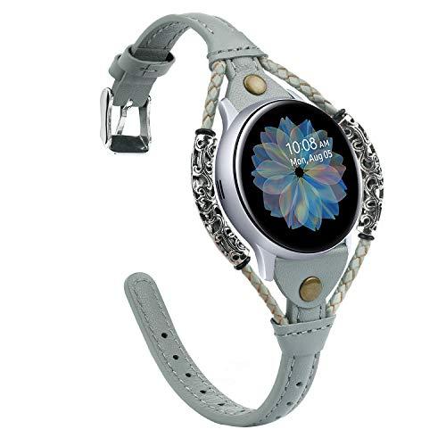 Glebo Correa de piel compatible con Samsung Galaxy Watch 42 mm/Active 40 mm/Active 2 (40 mm/44 mm)/Watch 3 41 mm para mujer, 20 mm vintage, correa de repuesto para Samsung Gear Sport, color gris