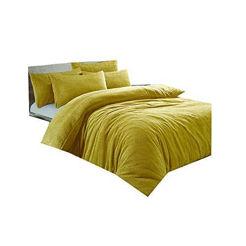dl Teddy Duvet Cover Set Double Size Bedding Quilt-Ochre