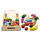 mysunny Holzspielzeug Schneiden, Spielküche Zubehör, Kinderküche Zubehör Holz, Küche Kinder Holzspielzeug, Obst Gemüse und Fleisch Kochsimulation Lernspielzeug für 3+ Jährige Jungen und Mädchen