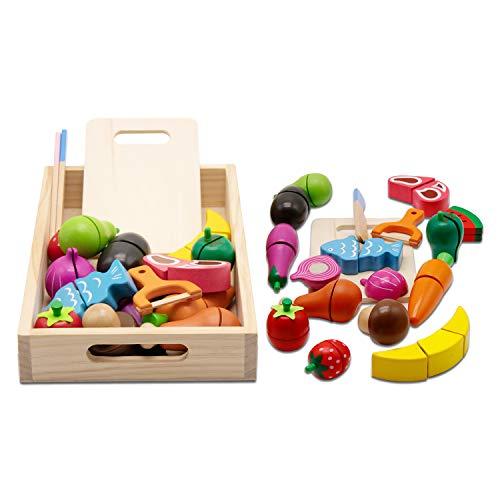 mysunny Frutas Verduras Juguete para Cortar, Juego Velcro Madera Frutas, Comiditas Accesorios para Cocina de Juguete para Niños, Comida Cocinar Juguetes Educativos para Niños y Niñas de 3+ Años
