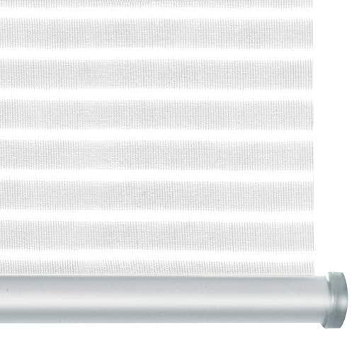 casa pura® Rollo Deluxe Stripe White | Blickdicht & lichtdurchlässig | Klemmrollo für Fenster, auch ohne Bohren anbringbar | mit Metallschiene und -Kette | 9 Größen (100x150cm)