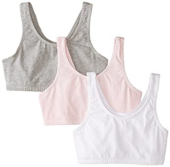 Fruit of the Loom Big Girls  Cotton Built-Up Sport 3 Pack Grey Heather/Bittersweet Pink/White 34 Pack of 3