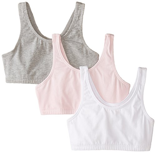 Fruit of the Loom Big Girls' Cotton Built-Up Sport 3 Pack, Grey Heather/Bittersweet Pink/White, 38(Pack of 3)