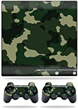 MightySkins Skin Compatible with Sony Playstation 3 PS3 Slim Skins + 2 Controller Skins Sticker Green Camo