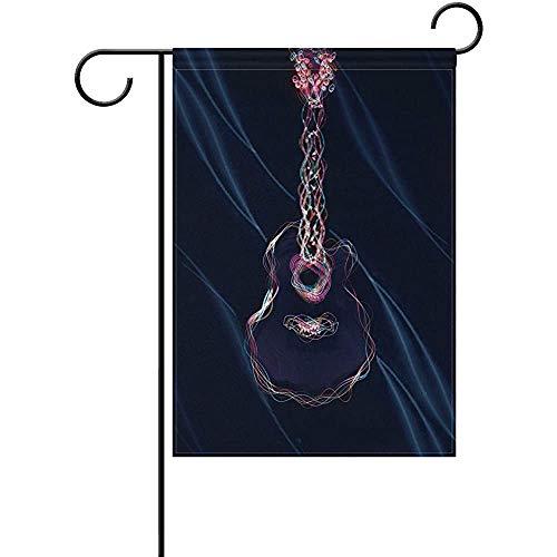Hao-shop Abstrakte Schwarze Gitarrengarten-Flaggen-Banner-Dekoration für Innenhof-Innendekor im Innenhof