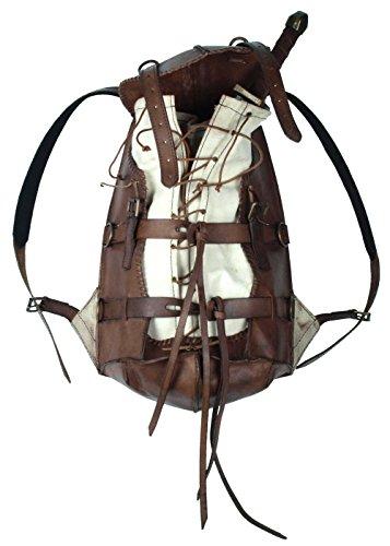 Epic Armoury Mittelalterlicher Rucksack Adventurer aus stabilem Leder LARP Back Bag Schwarz oder Braun (Braun)