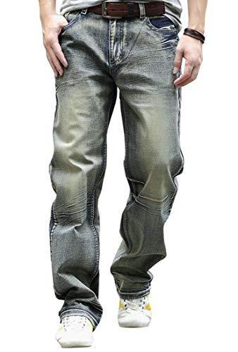 YOYEAH Men's Loose Relaxed Straight-Leg Korean Jeans 36 Golden