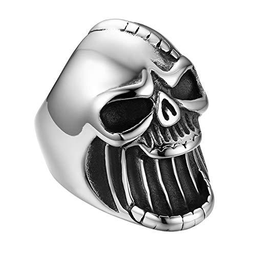 Flongo Acier Inoxydable Bague Homme Tete de Mort Large Crâne Ouvre-Bouteille Moderne Anneau Punk Rock Designe Unique