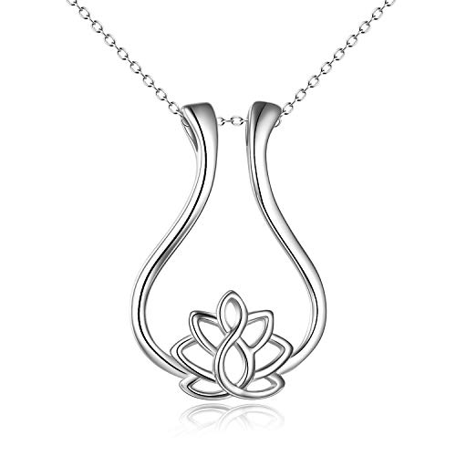 Sterling Silver Ring Necklace Holder Rhombus Lotus Flower Pendant Necklace Jewelry Gift for Women,Teens,Daughter,Wife, Nurse (Silver)