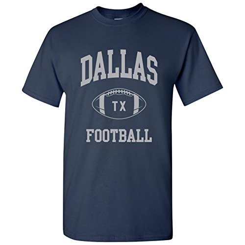 Dallas Classic Football Arch Basic Cotton T-Shirt - Large - Navy