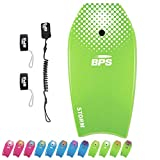 BPS Storm Bodyboard - Includes Premium Coiled Leash and Swim Fin Tethers/Savers (Green, White, 37 Inch)