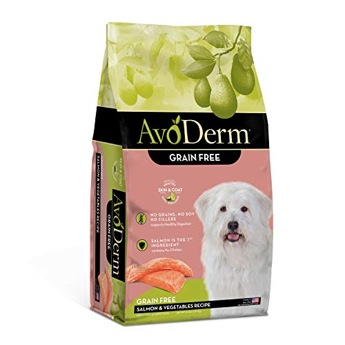 AvoDerm Natural All Life Stages Dry & Wet Dog Food, Grain Free, Salmon & Vegetables Recipe, Seafood, 4 Pounds