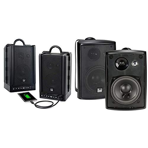 Dual Electronics LU48BTS Wireless Portable Bluetooth Speakers | TruWireless Stereo & LU43PB 3-Way High Performance Outdoor Indoor Speakers with Powerful Bass | Effortless Mounting Swivel Brackets