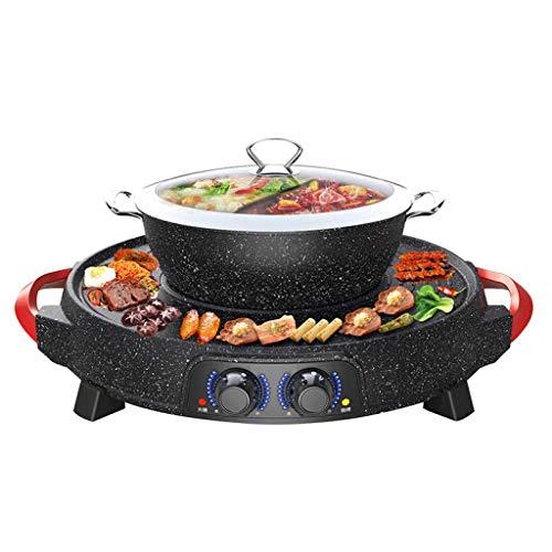 WSJTT Multi cuiseur | Poêle à frire électrique avec couvercle en verre, surface antiadhésive de 54 cm et poignées tactiles froides, four multifonction multifonction deux-en-un Barbecue sans fumée élec