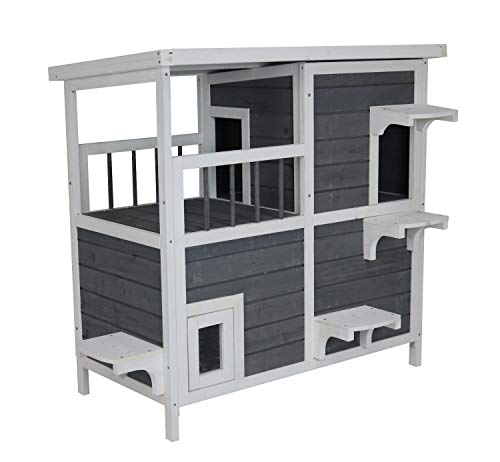 SAUERLAND Großes Katzenhaus mit 2 Etagen, Holz grau-weiß, 87 x 45 x 90,5 cm