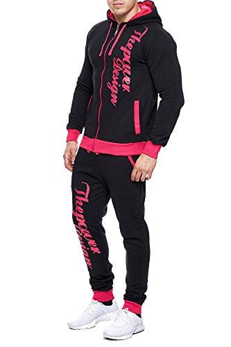 Violento Kinder Jungen Jogginganzug Jogging Hose Jacke Sportanzug Sporthose Fitness Hoodie schwarz/pink XS 164