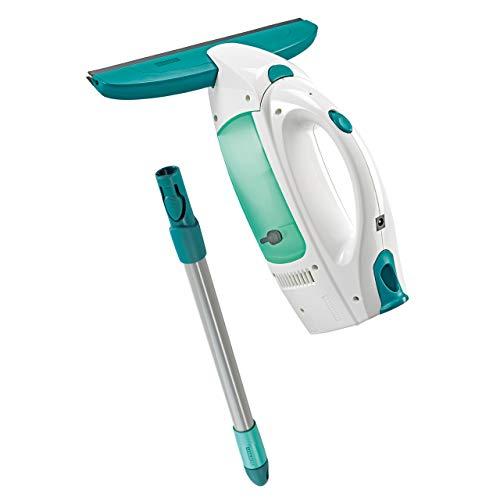 Leifheit Dry & Clean Set Lavavetri elettrico con manico per lavaggio a 360°, Tergivetro professionale fino a 35 min con 1 carica, Tira acqua da doccia