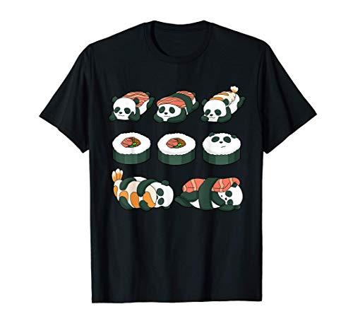 Panda Sushi Camisa Comida Maki Kawaii Bebé Pandas Camiseta