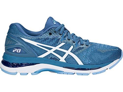 ASICS Women's Gel-Nimbus 20 Running Shoes, 7M, Azure/White