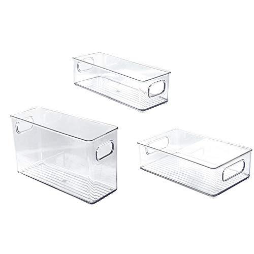 3 cubos de almacenamiento para nevera, organizador de alimentos transparente para nevera, congelador, despensa, armarios, pequeño, mediano y grande