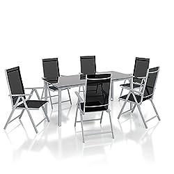 Alu sofa set Garden furniture set 7-piece set sofa set 1 table 190x87 + 6 chairs