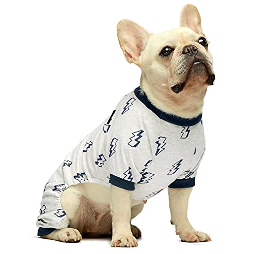 Fitwarm 100% Cotton Lightening Pet Clothes for Dog Pajamas Onesies Jumpsuit Puppy Cat PJS Jammies Grey Small