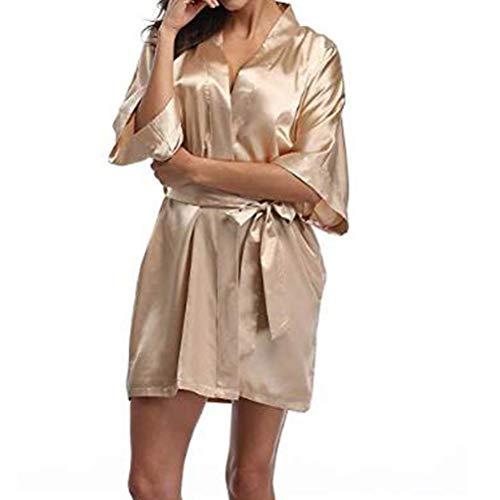 GWYGW KMDYP Satén de Mujer Boda Kimono Novia Bata.Sleepwear Robas de Dama de Honor Pijamas Bathrobe Nightgown SPA Robas de Novia Vestido de baño Albornoz (Color : Dark Pink, Size : XXXX-Large)