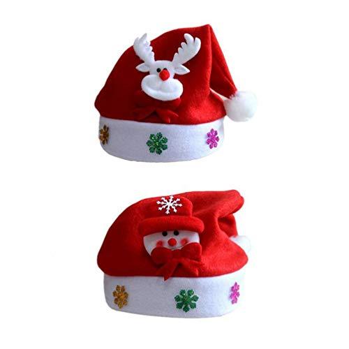 STOBOK 2 Piezas de Gorro de Santa de Navidad Divertido Gorro navideño de Felpa para Fiestas de Adultos (muñeco de...