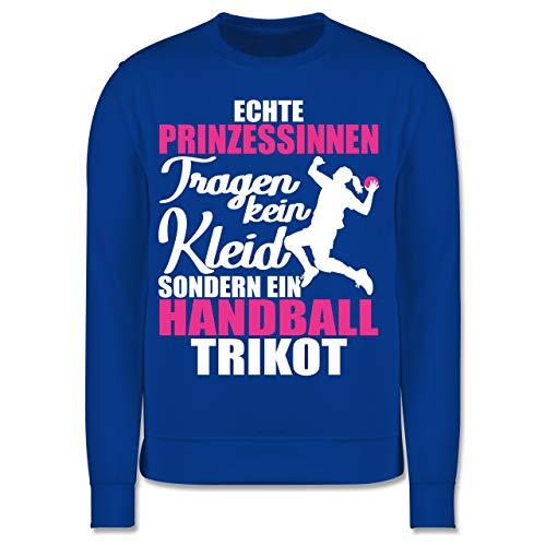 Sport Kind - Echte Prinzessinnen tragen kein Kleid sondern EIN Handball Trikot - weiß/Fuchsia - 104 (3/4 Jahre) - Royalblau - Pullover - JH030K - Kinder Pullover
