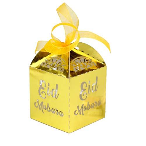 Amosfun 10 stks Eid Mubarak laser gesneden snoep doos gift box papier snoep container party gift box met kant lint