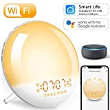 Wake Up Light Despertador Luz Inteligente - 2020 Upgrade Smart Despertadores Wifi Control de Alexa Echo y Google Home,Simulación de Amanecer y Anochecer, 7 Luces de Colores/4 Alarmas/Radio FM