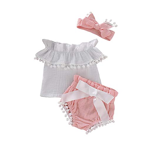 Mikrdoo 3PCS Baby Girl Clothes Off Shoulder Ruffled Tank Tops Bloomer Shorts Summer Outfits with Headband (6-12 Months, Pink)