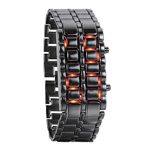JewelryWe Novelty Lava Watches for Men Women Electronic Red Blue LED Digital Black Alloy Wristwatch
