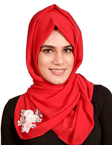 Proud Muslim Hijab, Floral Beaded Dubai Style Bubble Chiffon Head Scarf, Islamic Gift with box (Chrystal Beaded/Red 3)