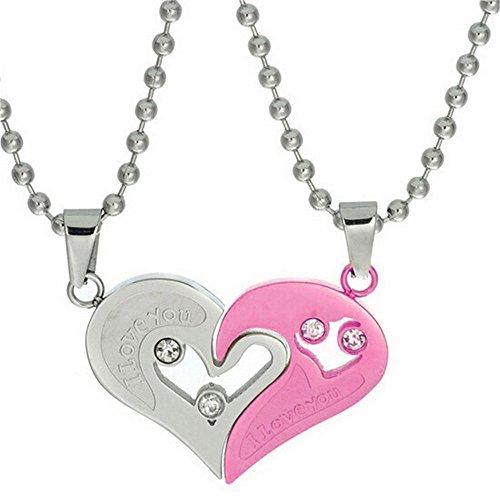 Uloveido His and Hers Puzzle Matching Set Colgante de Medio corazón de Acero Inoxidable con Collares de Cadena de Cuentas, Regalos del Día del Gran Padre (Rosa) SN102