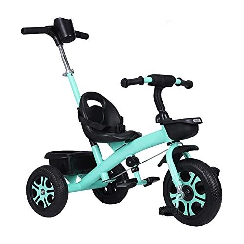 GST Triciclos Trible DE NIÑOS, Triciclo con Marco de Acero y neumáticos de Goma - para niños 24 Meses y Mayores | Purple | Pintura | Verde | Blanco | Azul | 80x48x95cm (Color: Verde)