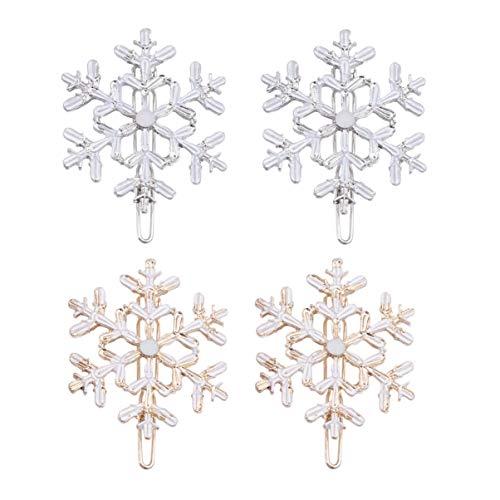 Lurrose 4Pcs Snowflake Hair Clips Christmas Snow Bobby Pins Alloy Shiny Hair Pins Xmas Hair Accessories Party Favors