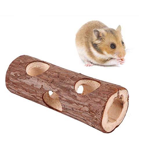 Natural Living Röhrentunnel, Hölzerne Röhre Tier Tunnel Hamster Tube Übung Kauen Spielzeug für Kaninchen Frettchen Meerschweinchen