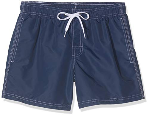 SUNDEK Herren Classic 14 Inch Elastic Waist Swim Short Boardshorts, Marineblau, Rot, Weiß, Blau, Large