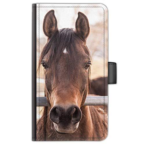 Hairyworm Pferd Pony Leder Seite Flip Tasche Handy Schutzhülle/Hülle with 3 Kartenfächer, Papier Schlitz, Magnetverschluss - Braune Pferd, Samsung Galaxy S8
