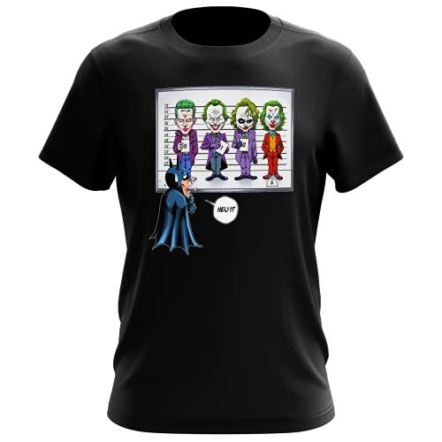 OKIWOKI Batman - Der Joker Lustiges Schwarz Herren-T-Shirt - Batman, Der Joker (Jared Letho, Jack Nicholson, Heath Ledger und Joaquin Phoenix) (Batman - Der Joker Parodie signiert Hochwertiges T-