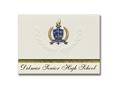 Signature Announcements Delmar Senior High School (Delmar, DE) Graduierung Ankündigung, Presidential Style, Elite Paket mit 25 Stück mit Gold & Blau Metallic Folien-Siegel