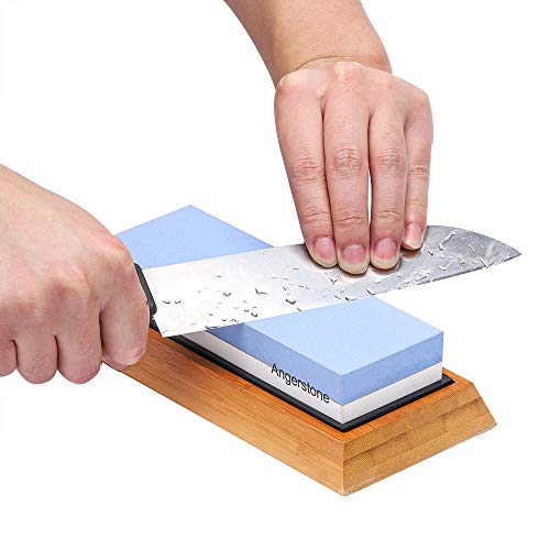 Angerstone Premium Knife Sharpening Stone–1000/6000 Grit Whetstone, Professional whetstone Sharpener stone with Slip-Resistant Silicone Base|Best wet stone|Nonslip Bamboo Base & Angle Guide