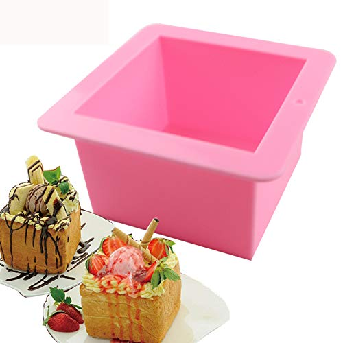 BAKER DEPOT 500ML Silicone Mold for Handmade Soap Mold Toast Mold Bread Mould Square, Set of 2