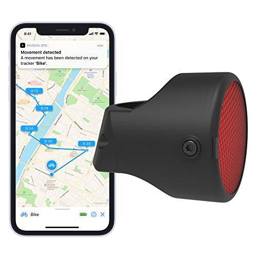 Invoxia Bike Tracker GPS-tracker, diefstalbescherming voor fietsen, reflector met realtime alarmfuncties, inclusief 3-jaars abonnement, tot 3 maanden accuduur, licht en onopvallend, waterdicht